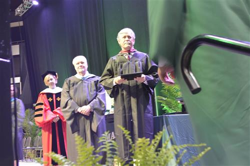 Dr. Hanlin on stage of Mardela High School Graduation of 2018