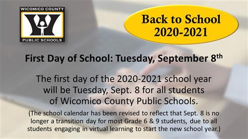 First Day of School: Tuesday September 8, 2020