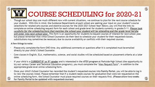 2020-21 Course Scheduling Now Taking Place
